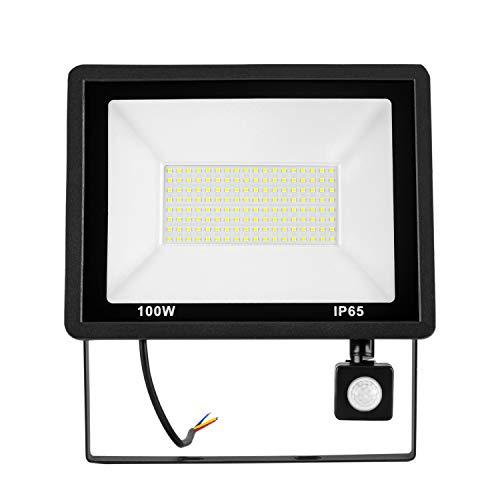 HENGMEI 100W LED Strahler mit bewegungsmelder Außen Fluter Flutlicht Wasserdicht IP65 Außenstrahler Scheiwerfer für Garage, Garten und Vorplatz (100W Warmweiß)