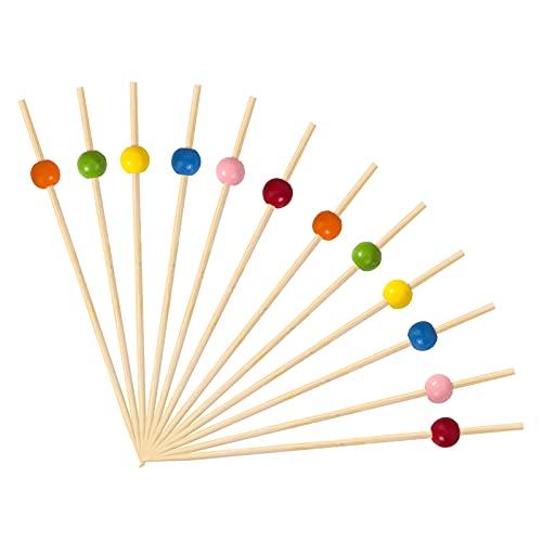 OOTSR 120 pezzi cocktail picks, 4,7 pollici cocktail colorati bastoncini sandwich frutta stuzzicadenti per feste antipasti forniture torta di compleanno decorativo