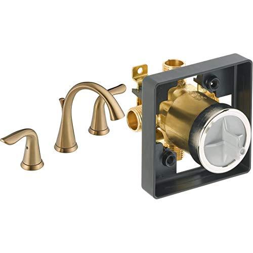 Delta Faucet Lahara Widespread Bathroom Faucet 3 Hole, Champagne Bronze 3538-CZMPU-DST & Faucet R10000-UNBX MultiChoice Universal Tub and Shower Valve Body for Tub Faucet Trim Kits