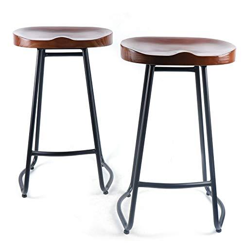 2 taburetes de bar retro de madera, para cocina, café, restaurante, 70 cm