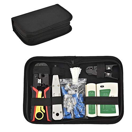 Netzwerk Werkzeuge Set Professionelle Netzwerk Reparaturwerkzeuge Kabel Crimpzange Abisolierzange Kabeltester Kit LAN Kabel Tester