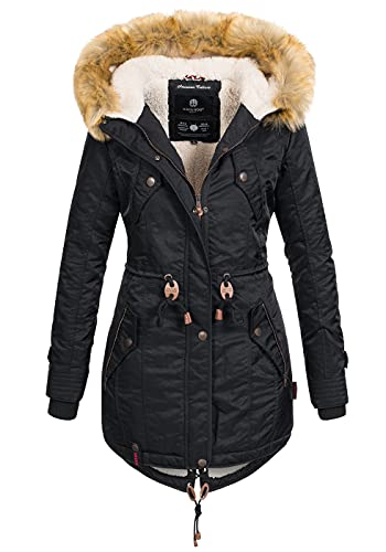 Navahoo warme Damen Winter Jacke Teddyfell Winterjacke Parka Mantel B399 [B399-LaViva-Schwarz-Gr.S]