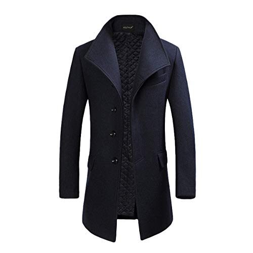 YOUTHUP Herren Wollmischung Mantel Slim fit Warmbody Windbreaker Business Winter Jacke, Blau, M