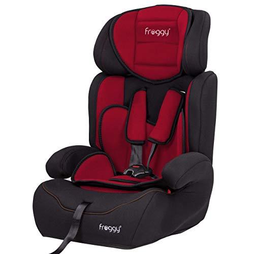 FROGGY Autokindersitz Gruppe I/II/III (9-36 kg) + Sicherheitsnorm ECE R44/04 + 5-Punkte-Sicherheitsgurt + verstellbare Kopfstütze Rot