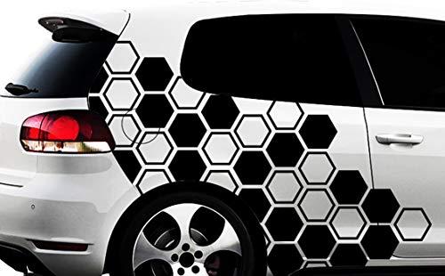 HR-WERBEDESIGN Hexagon Pixel Cyber Camouflage XXL Set Auto Aufkleber Sticker Tuning Wandtattooq