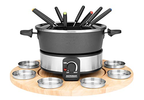 GASTROBACK 42566 Fondue Set, praktischer Drehteller mit 8 Edelstahl-Saucenbehälter Stufenlos regelbar von 40°C bis 190°C, 1.000 Watt, 1000, Antihaftbeschichteter Topf, schwarz, silber
