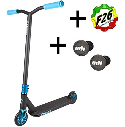 Chilli Pro Scooter Reaper Stunt-Scooter 110mm + Odi Barends + F26 Sticker (Wave Blau + Odi)