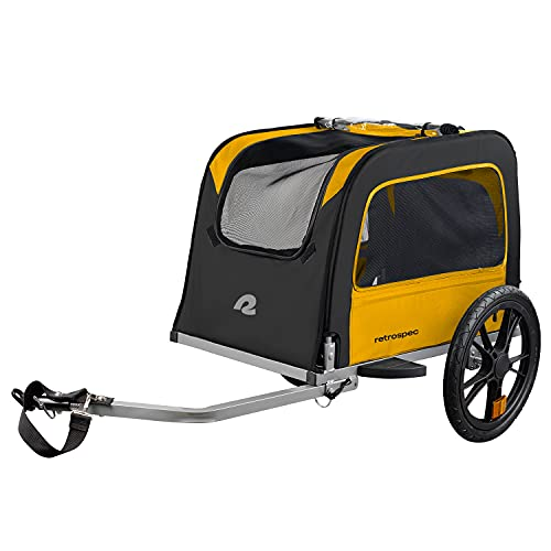Retrospec Rover Hauler Pet Bike Trailer - Small & Medium Sized Dogs Bicycle Carrier - Foldable Frame with 16 Inch Wheels - Non-Slip Floor & Internal Leash - Sun, One Size