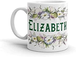 Personalized Girl Name Coffee Cup Elizabeth Coffee Mug Gift For Elizabeth Morning Glory Mug Purple Flower Cup Monogram Mug Ceramic Mug