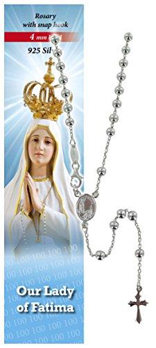 Rosario Virgen de Fátima de plata 925 con cuentas de Ø 4 mm y oración en inglés