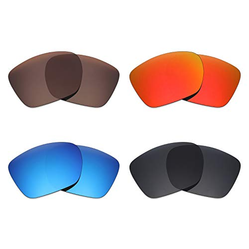 Mryok 4 Paires polarisées Lentilles de Remplacement pour Oakley Twoface XL Lunettes de Soleil – Stealth Noir/Rouge Feu/Ice Bleu/Bronze Marron