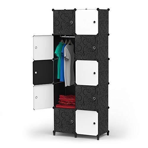 HOMIDEC Kleiderschrank, Tragbarer Regalsystem, 10 Würfel Schrank aus Kunststoff mit 1 Kleiderstange, Schlafzimmerschrank kleiderschrank Weiss für Schlafzimmer, 72 x 146 x 46 cm