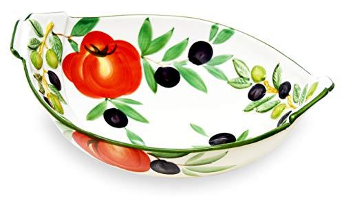 Lashuma Servierschüssel Oval, Keramik Salatschüssel Design Tomaten - Oliven, Tiefer Servierteller Größe 27 x 21 cm