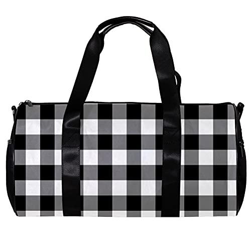 Borsone da palestra rotonda con tracolla staccabile nero grigio bianco modello plaid formazione borsa borsa per donne e uomini