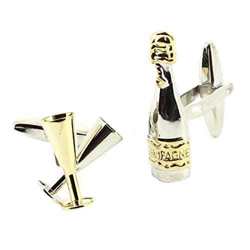 Cravate Avenue Signature. Boutons de Manchette. Flute de Champagne, Acier rhodié. Bronze, Fantaisie.