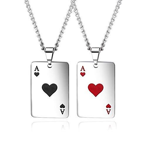 N·XHXL 2 PCS Card Poker Anhänger Halskette Für Frauen Männer, Gothic Pik-Ass A, Stainlss Stahlkette 22,4 + 2 Zoll, Atemberaubende Kreative Geschenk
