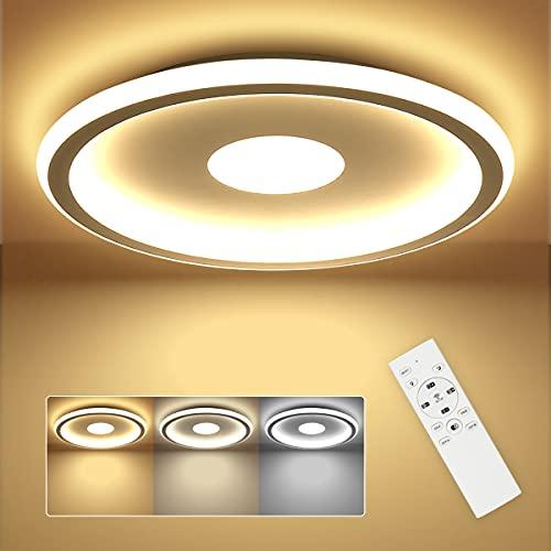 SHILOOK LED Deckenleuchte Dimmbar Flach, 24W Deckenlampe mit Fernbedienung Rund 3000k-6500k, für Schlafzimmer/ Kinderzimmer/ Wohnzimmer/ Küche, 30cm Weiß Modern Ultradünn