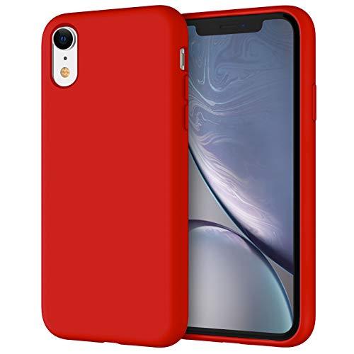 JETech Cover in Silicone Compatibile iPhone XR, 6,1 Pollici, Custodia Protettiva con Tutto Il Corpo Tocco Morbido setoso, Cover Antiurto con Fodera in Microfibra (Rosso)