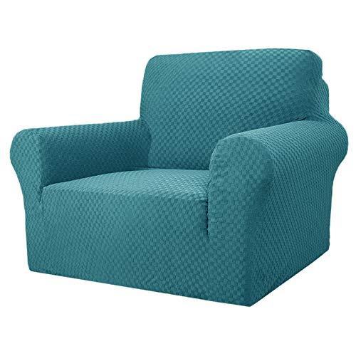 MAXIJIN Fodere per sedie più recenti per Soggiorno, Fodera per Sedia in Jacquard Super Elasticizzato con braccioli per Cani Fodera per Poltrona 1 Pezzo per Divano (1 Posto, Jacquard Blu Pavone)