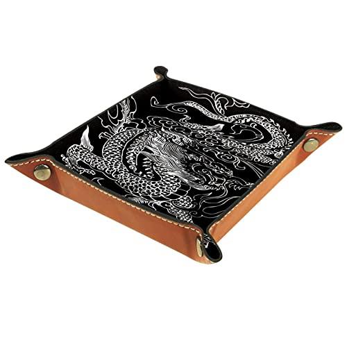 Bandeja de Valet de Cuero, Bandeja de Dados, Soporte Cuadrado Plegable, Placa organizadora de tocador para Cambiar la Llave de la Moneda, Tatuaje de dragón Chino Negro