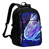 asfg Resistente a Las Manchas Jellyfish and Clownfish Multifunctional Personalized Customized USB Backpack, Student School Outdoor Backpack,Travel Bag Laptop Bookbags Business Daypack.