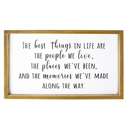 VILIGHT Framed Farmhouse Family Wall Decor for Living Room and Kitchen - Rustic Wood Sign with Quotes The Best Things In Life - 16x9.4 Inches