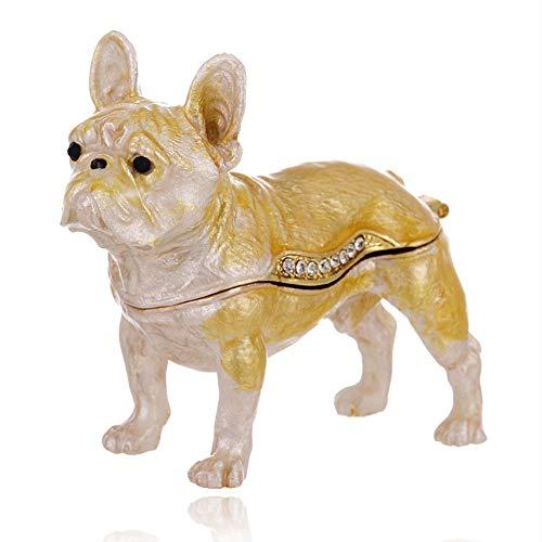 Hand Painted French Bulldog Trinket Box, Hinged Enameled Jewelry Box, Unique Mini Ring Earrings Jewelry Organizer, Vintage Bejeweled Storage, Figurine Collectible Keepsake Home Decor (French Bulldog)