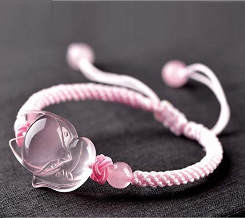 Feng Shui riqueza pulsera amuleto rosa Pulsera ajustable Mozambique cuarzo rosa cura Chakra Piedras Hada Fox Talisman atraer el amor romántico Relaciones prosperidad Protección del Matrimonio