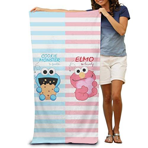 AllenPrint Beach Towel,Coo-Kie El-Mo Mon-Ster Toalla De Baño, Toallas De Baño Decorativas para Mujer para Decoración del Hogar,80x130cm
