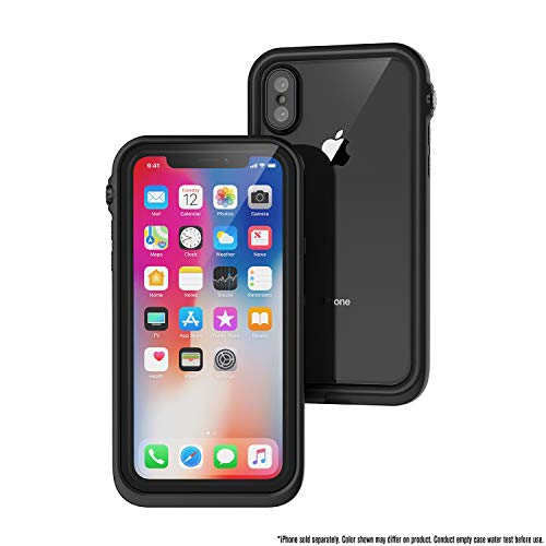 Catalyst Custodia Impermeabile iPhone X 33ft - 10 Metri Impermeabile -, Custodia Protezione Grado Militare Case iPhone X Cover, Design Sottile per Nuoto, Accessori da Crociera con Cordino - Nero