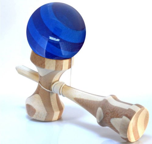 RQN Bamboo Kendama with Translucent Blue Ball with Extra String for Kids Teens Adults Festival Gift