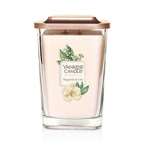 Yankee Candle Elevation Collection with Platform Lid Magnolia & Lily Scented Candle, Large 2-Wick, 80 Hour Burn Time