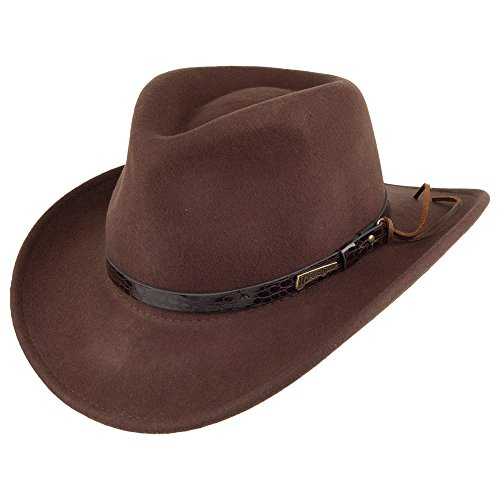 Village Hats Indiana Jones Outback Cowboyhut aus Wollfil - Braun - XL
