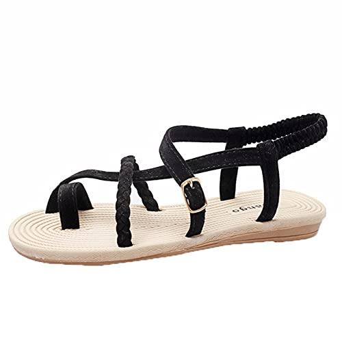 Sandalias planas de zueco para mujer para verano, sandalias de gladiador con tiras cruzadas y puntera cruzada, sandalias planas de gladiador para mujer