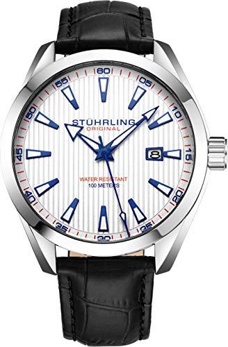 Stuhrling Originale orologio uomo analogico con quadrante analogico - Cinturino in pelle di vitello o cinturino in acciaio inossidabile, 3953 Collezione orologi uomo (Leather/White)