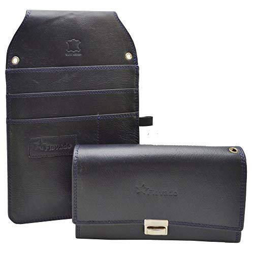 flevado Kassiererbörse Kellner Bedienungsgeldbörsen Sets mit oder ohne/farblich passenden Colt/Halfter zu wählen, Blaue Börse mit Colt, ca. 17,5 x 10 cm x 3 cm