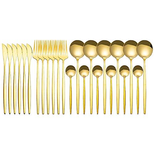 Damaila Juego de cubiertos de acero inoxidable para 24 piezas con espejo dorado, cubiertos, tenedor, cuchara de café, cubertería para...