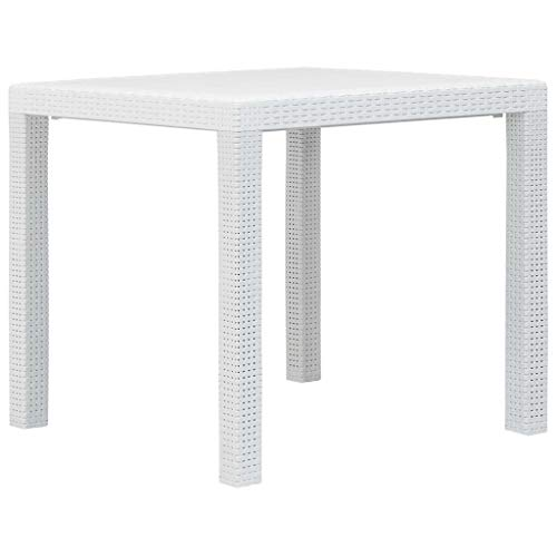 Tidyard Table de Jardin en Plastique Aspect de Rotin Style Moderne - Durable et Solid - Blanc 79x79x72 cm