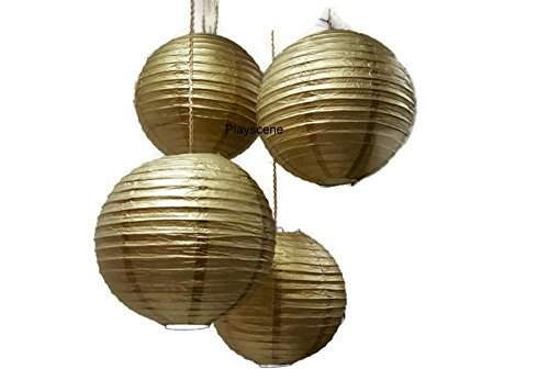 """Chinese Paper Lanterns, Gold, 12"""" Inch Diameter - by Playscene (Pack of 6) (Gold)"""