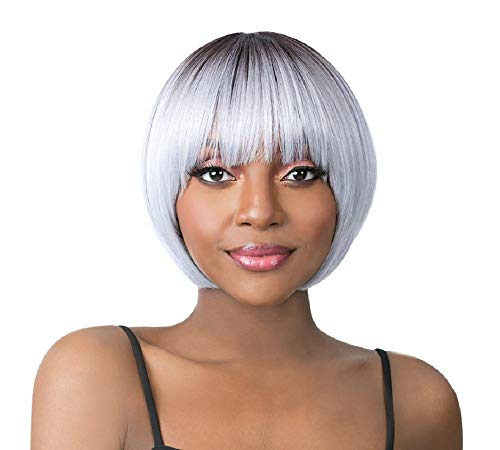 It's A Wig Iron Friendly Synthetic Hair Straight Short Length Lovely Round Style Bob with Bangs - BOCUT-3 (1)