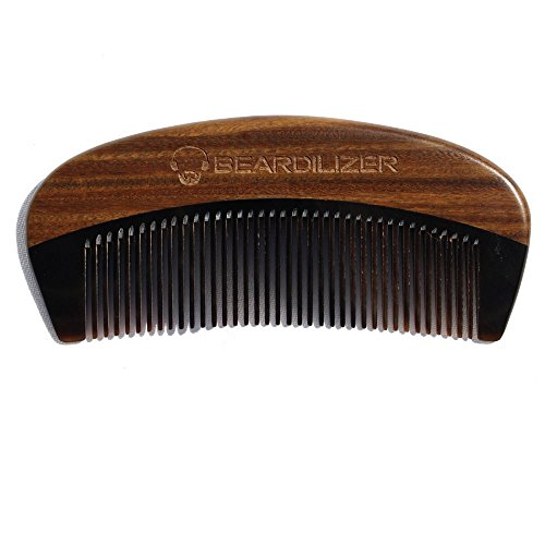 Beardilizer Beard Comb - 100% Natural Black Ox Buffalo Horn & Sandalwood Handle