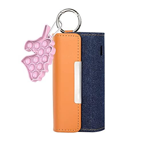DrafTor E Zigarette Tasche, PU Leder Zigarettenetui für I-Q-O-S 3.0 mit Nieten oder Sterne Magnetische Clip Abdeckung(nur Geldbörse) (Fidget+Braun)