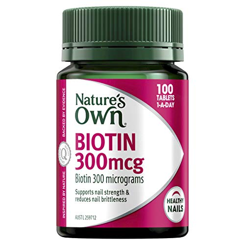 Nature's Own Biotin 300mcg - Maintains Healthy Nails - Aids in the Breakdown of Dietary Fat, 100 Tablets