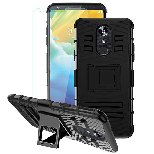 LG Stylo 4 Case, Stylo 4 Plus Case W[Tempered Glass Screen Protector] Built-in Kickstand Shockproof PC Back &Soft TPU Inner Armor Swivel Belt Clip Holster Heavy Duty Protective Case,PC-Purple