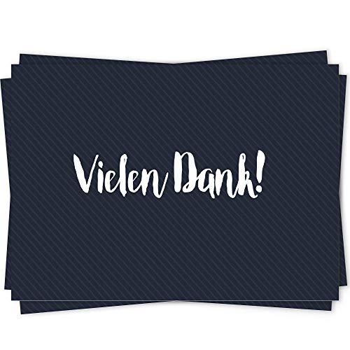 10 Dankeskarten Set, Dankeskarte, Karte Danke, Postkarte Danke, Dankeschön Karten, Thank you cards, Dankeskarten Hochzeit, Danke Karten DIN A6 - blau - Geo1