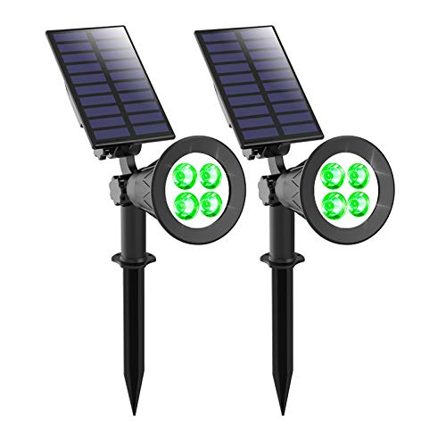 Solar Spotlight, T-SUNUS IP65 Waterproof 4 LED Solar Lights Wall Light,Auto-on/Off Security Light Landscape Light 180° Angle Adjustable for Tree,Patio,Yard,Garden,Driveway,Pool Area (2 Pack Green)