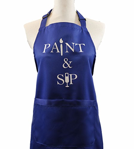MeAnWe Wares Apron with Pockets - Paint and Sip Bib - Artist Painters Gift for Women, Men - Painting Smock Party Supplies, 1 Pcs