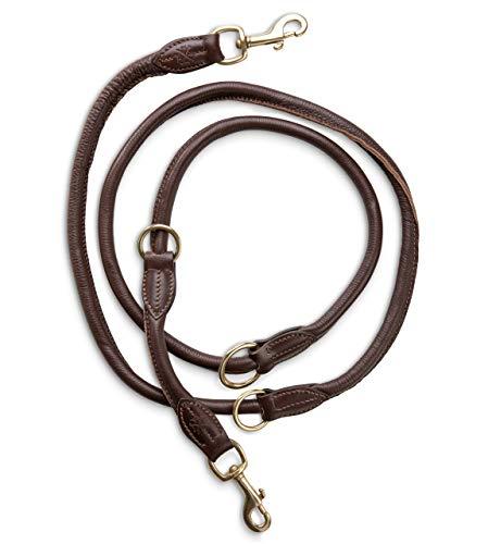Jack & Russell Premium Leder Hundeleine Dexter 2,0m - Hunde Lederleine mit Messing-Karabiner - Echtleder Leine mehrfach verstellbar Dexter (Braun)