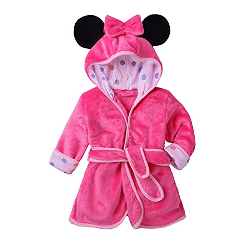 QSMIANA Accappatoio Autunno Inverno Unisex Bambini Flanella Accappatoio per Bambini Accappatoi dei Cartoni Animati per Bambini Multicolore Ragazzi E Ragazze Cotton Fleece Cotting Gown-Pink,110