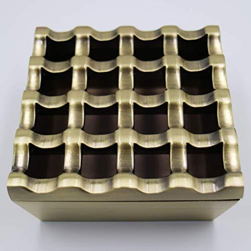 noyin Metal Ashtrays for cigarettes - Cigar Ashtrays Outdoor Windproof Cigarettes Ashtray Tabletop Decor for Home Hotel Garden Desktop Cigar Ashtray (16hole 3.7'x1.7', Bronze)